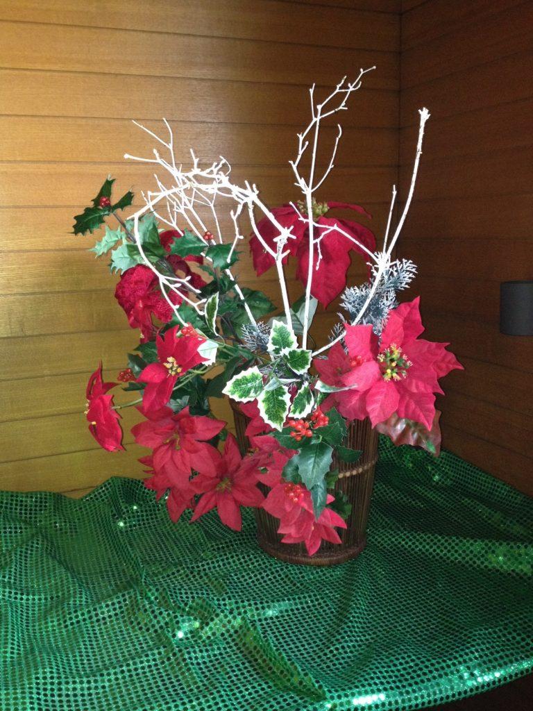 2階玄関の花